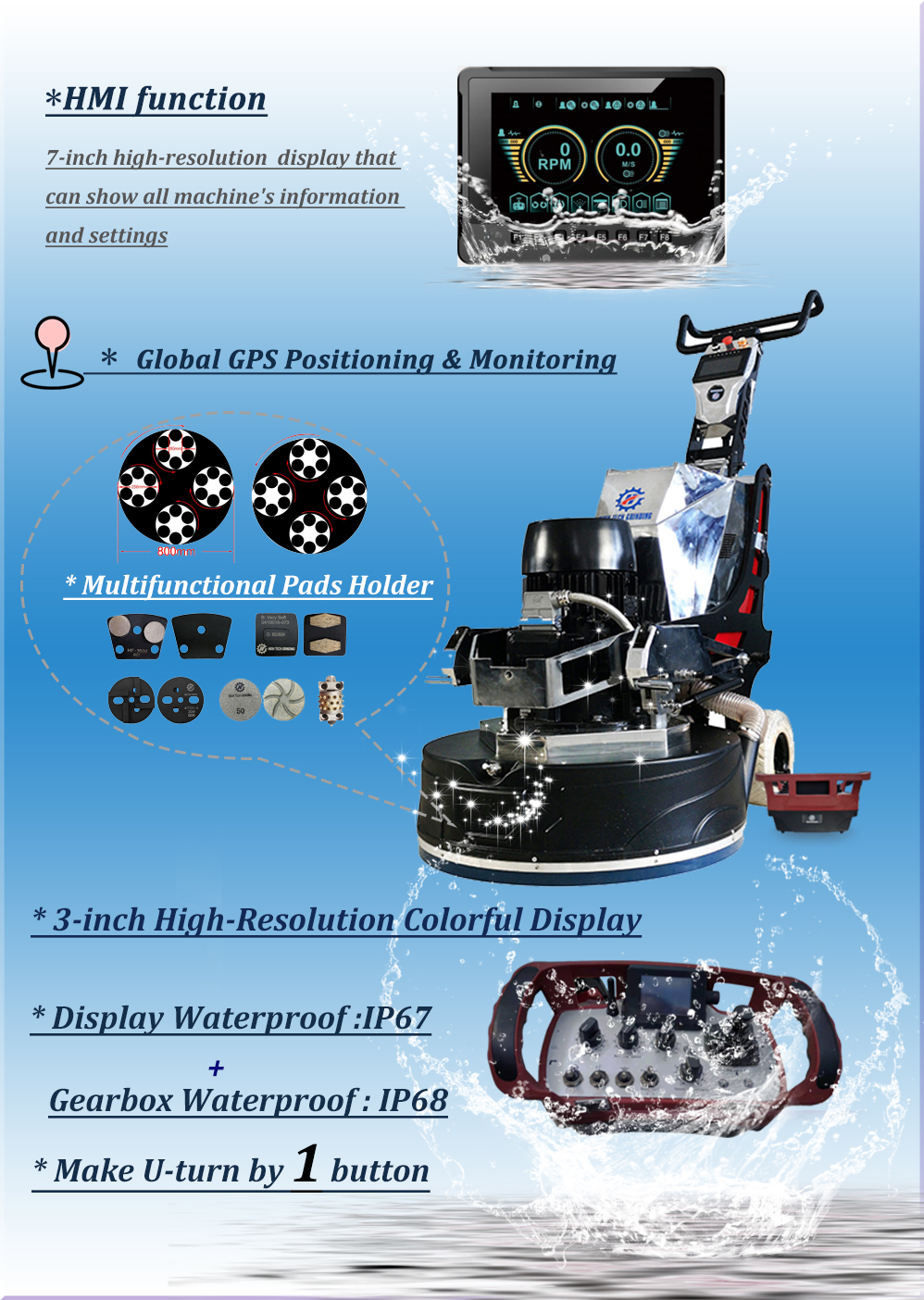 AI Intelligent Diamond Floor Grinder for polishing concrete
