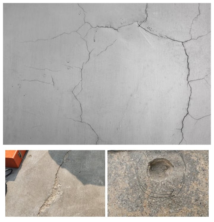 old concrete floor full of cracks and holes