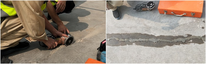 Cutting and stitching way to fix the concrete cracks
