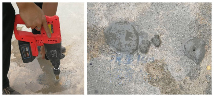 drilling and plugging method to repair concrete holes