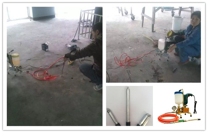 Epoxy injection to repair concrete floor empty drums by high pressure Grouting machine