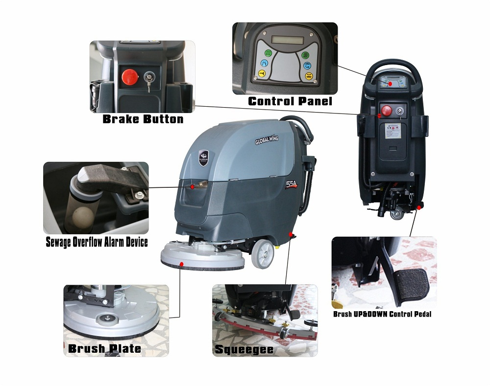 Automatic Walk Behind Single Disc Floor Cleaner Industrial Commercial Floor Scrubber Machine