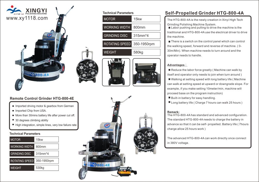 Xingyi Remote Control Grinder HTG-800-4E and Self-Propelled Grinder HTG-800-4A